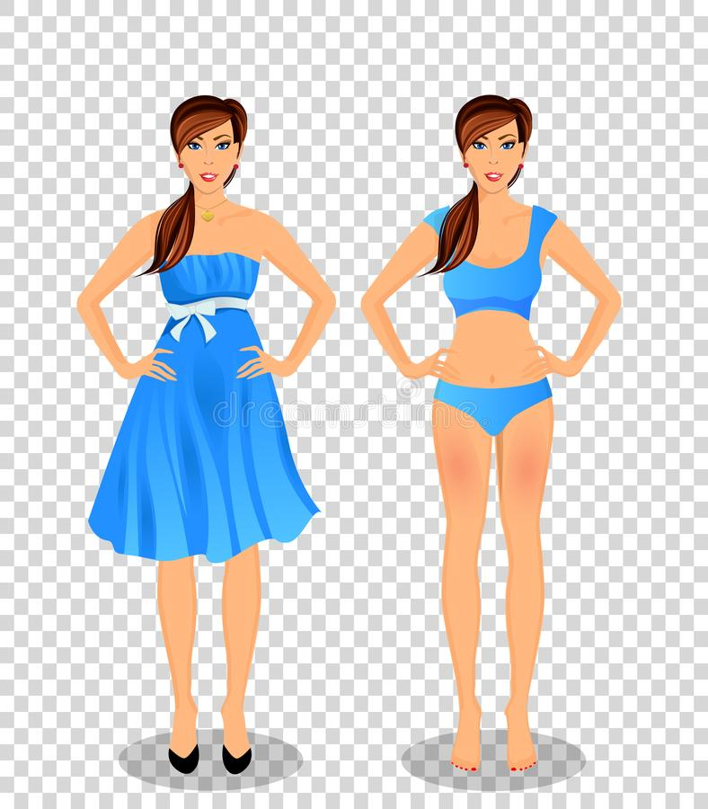 Cartoon girl with long brown hair in blue dress and underwear. Vector people set collection with beautiful young woman cartoon character in different wardrobe stock illustration