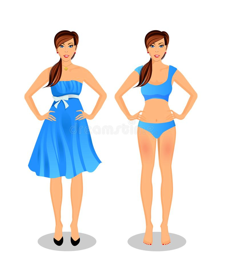 Cartoon girl with long brown hair in blue dress and bikini royalty free illustration