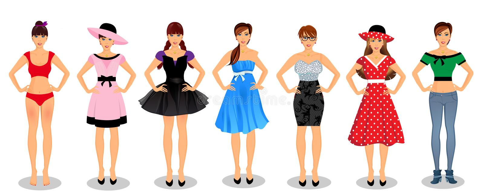 Vector people set collection with young women characters. Vector people set collection with beautiful young full-length women characters in different wardrobe royalty free illustration