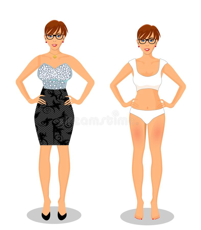 Cartoon girl with short brown hair in black dress and white bikini. Vector people set with cute young woman cartoon character with brown shor hair style in royalty free illustration