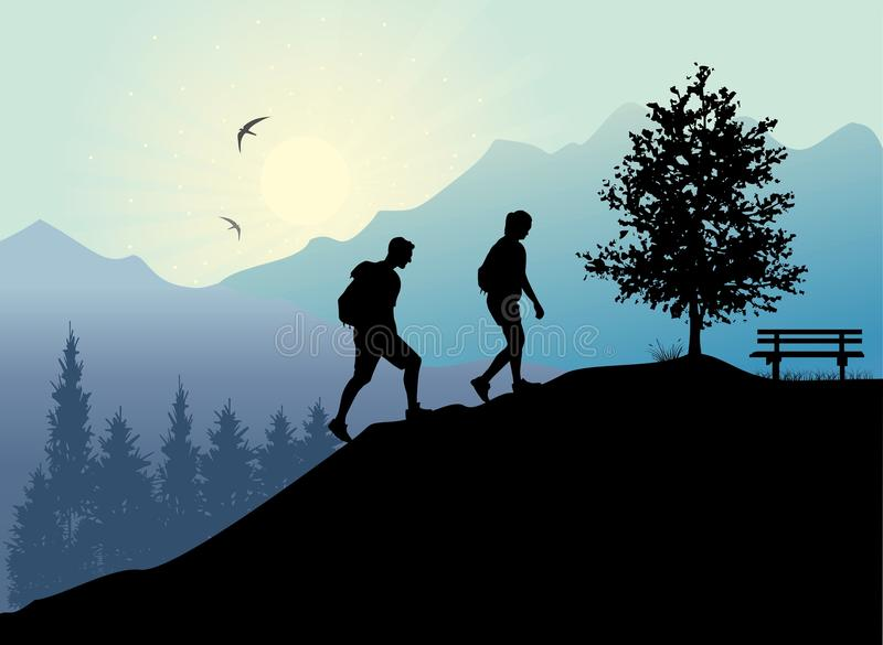 Silhouettes of people climbing and hiking on forest background. Mountaineering. Vector of people silhouettes climbing and hiking on mountain background vector illustration