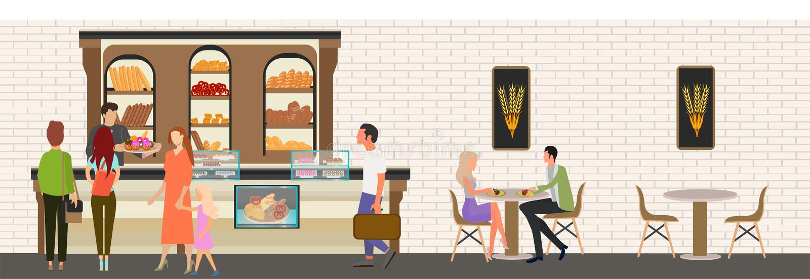 Vector of people staying in line shopping in the bakery stock illustration