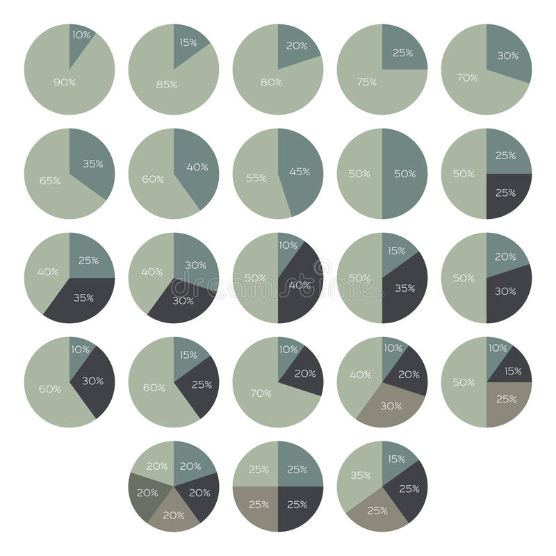 Vector percentage infographics. 10 15 20 25 30 35 40 45 50 55 60 65 70 75 80 85 90 percent pie charts. Circle diagrams isolated. Business illustration vector illustration