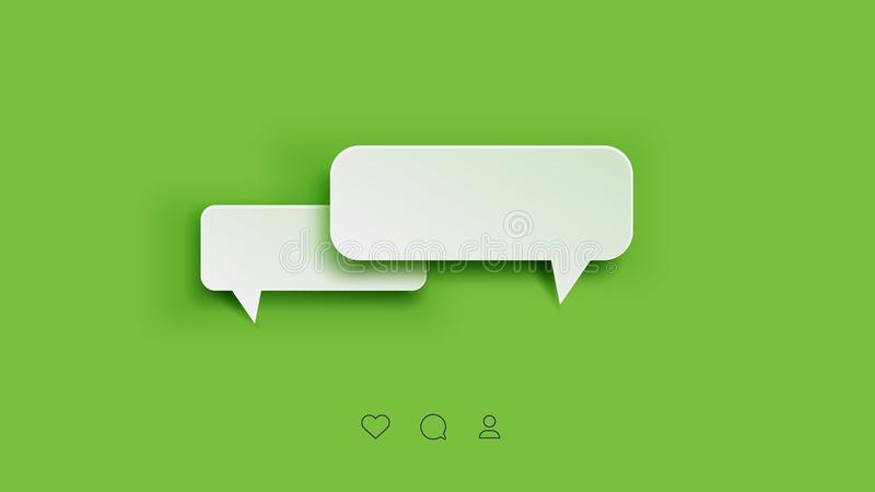 Vector Perfect Paper Style Speech Bubbles. Blank Isolated 3D Paper Stickers On Green Background stock illustration