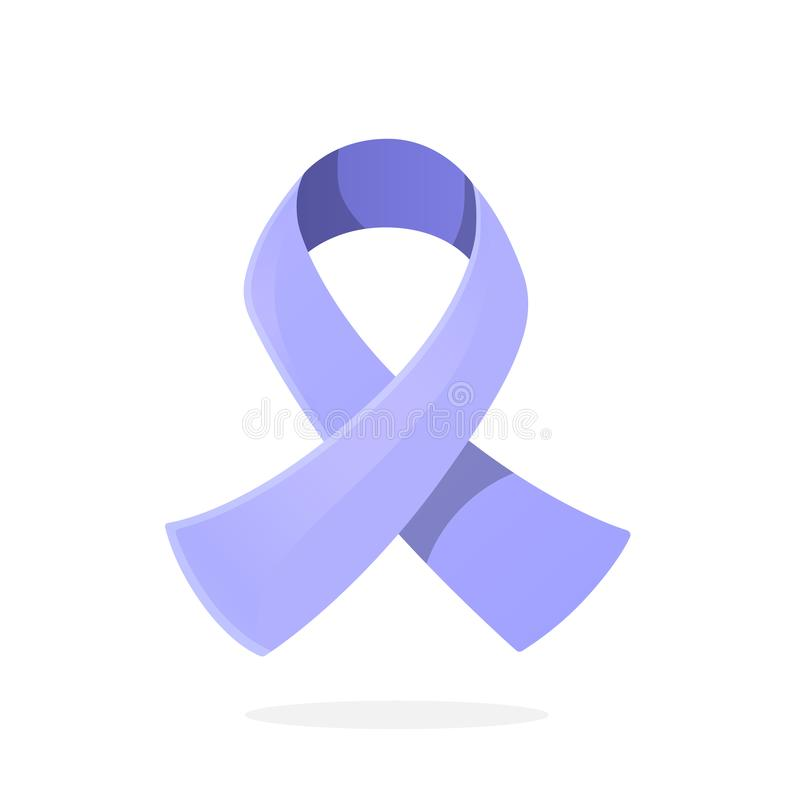 Vector. Periwinkle or light purple ribbon, international symbol of awareness about Esophageal, Stomach or gastric cancer vector illustration