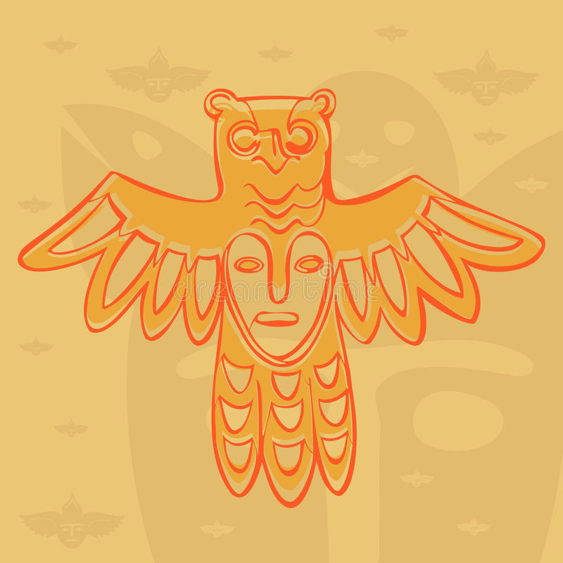 Vector Permian bronze gods. Vector Permian animal style, bronze gods bird with a mask on his chest royalty free illustration