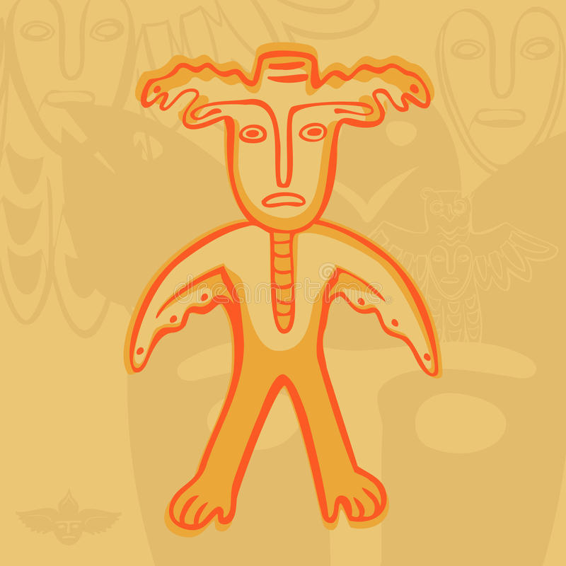 Vector Permian bronze gods man-moose. Vector Permian animal style, man-moose surrounded royalty free illustration