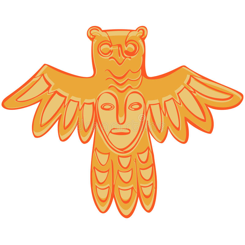 Vector Permian bronze idol. Vector isolation Permian animal style, bronze gods bird with a mask on his chest vector illustration