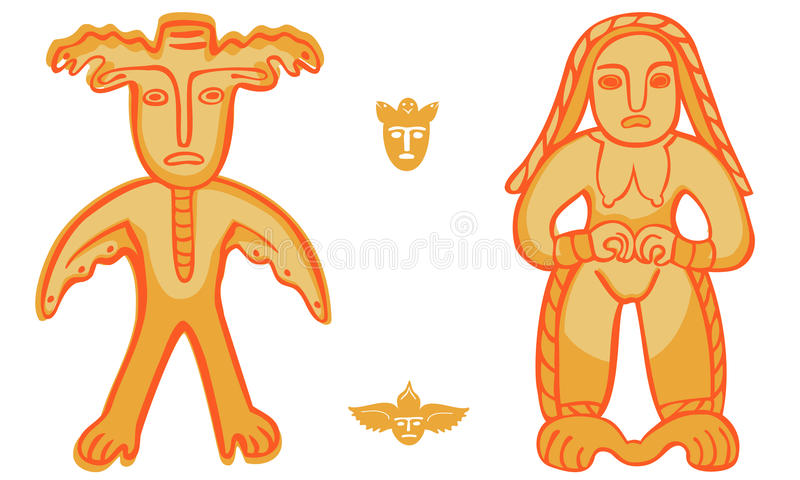 Vector Permian bronze idol too. Vector isolation Permian animal style, man-moose and golden woman vector illustration
