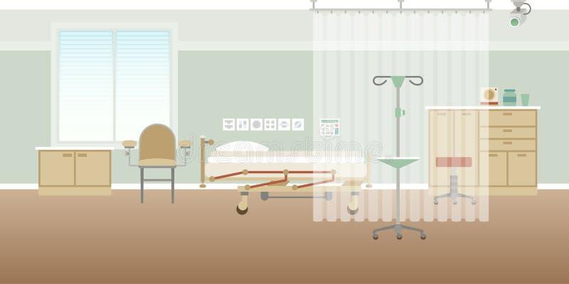 Vector persönliche leere Innenszene des medizinischen Bezirks des Krankenhauses in der flachen Art lizenzfreie abbildung
