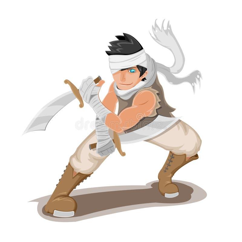 Vector persa de la actitud del carácter del hombre del guerrero stock de ilustración