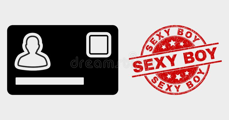 Vector Personal Credit Card Icon and Scratched Sexy Boy Watermark royalty free illustration