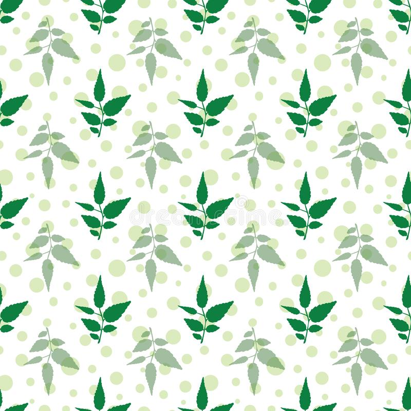 Vector petal green leafs with polka dots seamless. Pattern background. Perfect use for fabric, wallpaper, packaging projects, fashion, home decor, napkin paper stock illustration