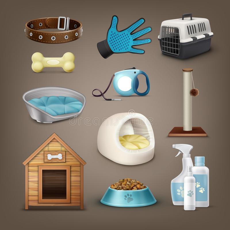 Vector pets items. Set of vector items for pets with collar, leash, carrier, toys, plastic and soft house of pet, dog kennel, bowl and bottles isolated on stock illustration
