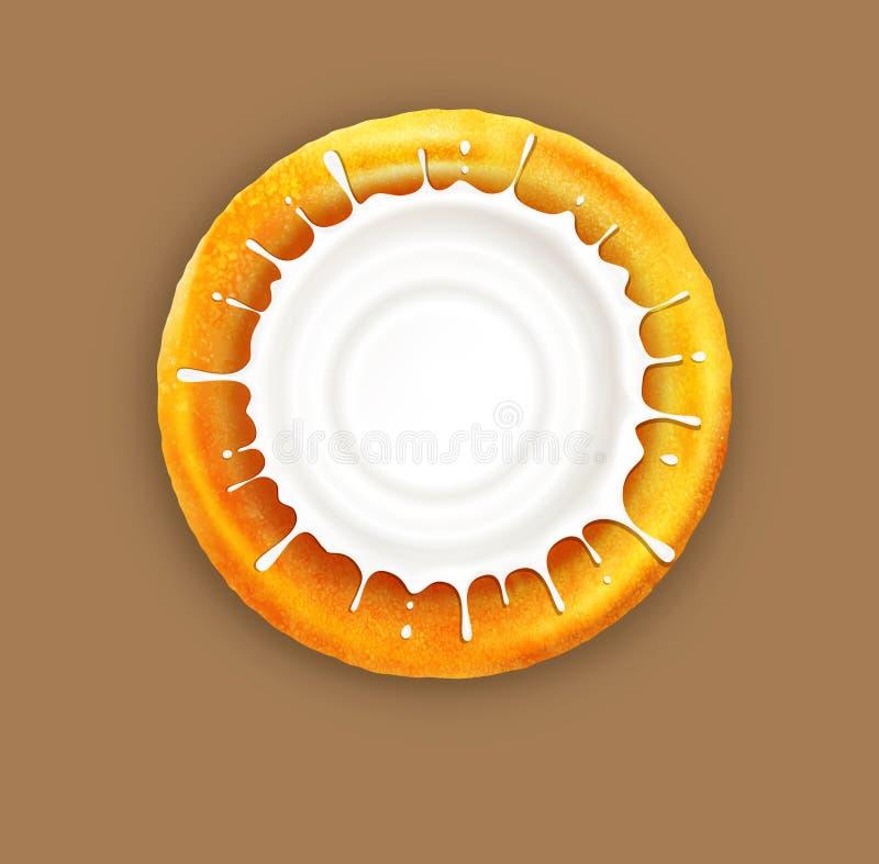 Vector Pfannkuchen mit einem Spritzen des Sauerrahms, lokalisiert auf einem Braun lizenzfreie abbildung