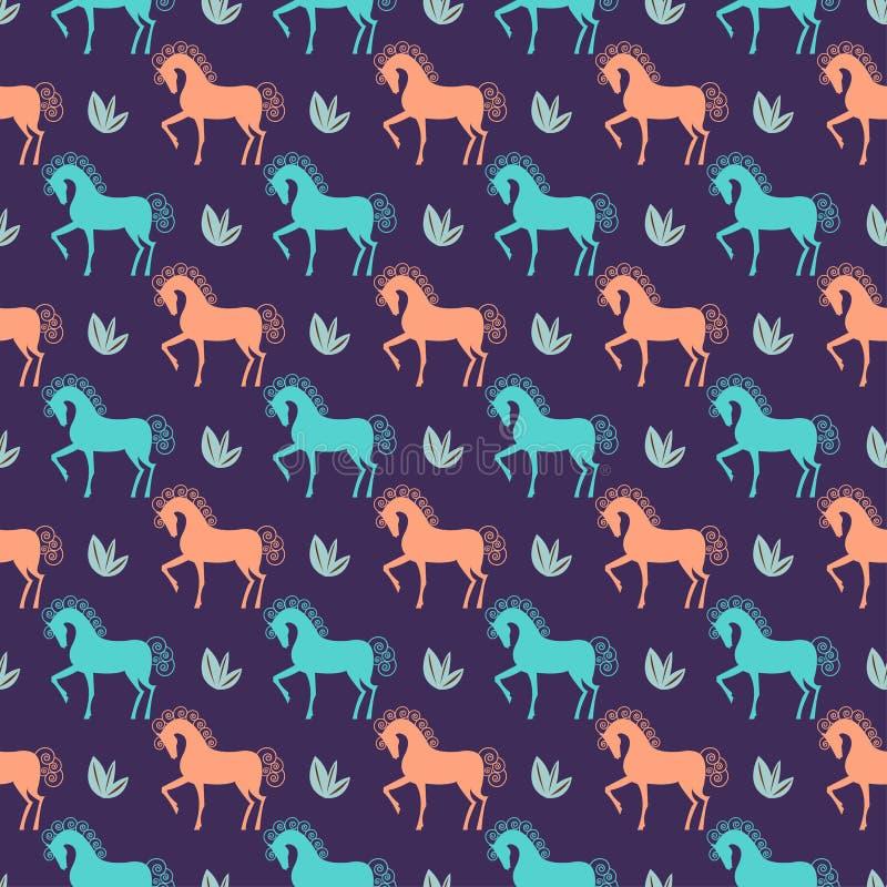 Download Vector Pferdenahtlosen Musterhintergrund Auf Dunkler Abdeckung Vektor Abbildung - Illustration von kunst, auszug: 47100511