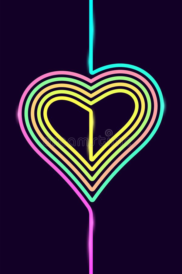 Vector Phone Background with Colorful Heart. Silhouette of Heart formed by Line with Color Gradient., In the Ai CS5 file the Line is Colored Stroke, In the royalty free illustration