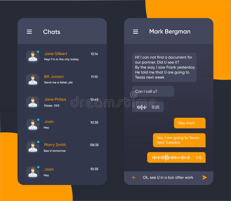 Vector phone chat interface. Message boxes in dark color. Speech bubble. UI UX interface in flat style for mobile application. Vector phone chat interface vector illustration