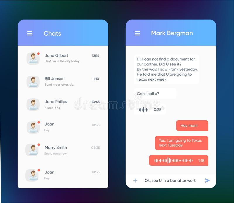 Vector phone chat interface. Message boxes. Speech bubble. UI UX interface in flat style for mobile application. Vector phone chat interface. Message boxes royalty free illustration