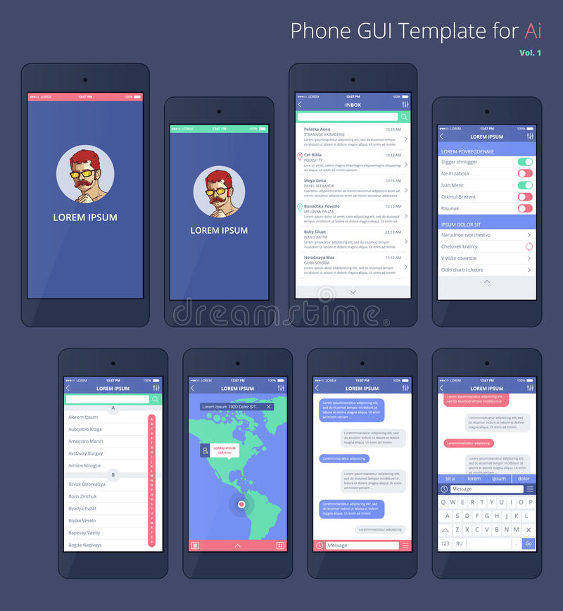 Vector Phone GUI Template. Wireframe UI Kit. Stock Vector ...