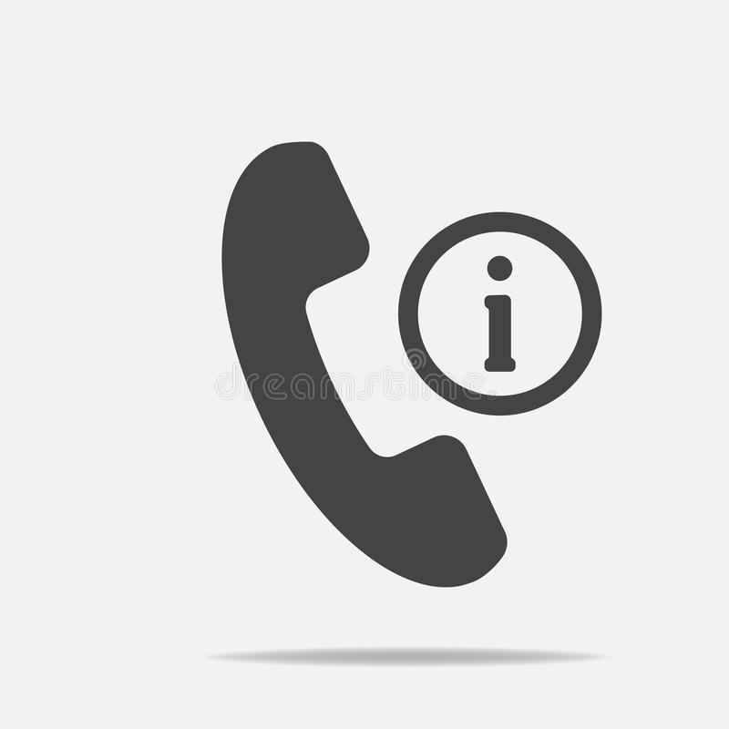 Vector phone icon and letter i. Get help information on the phone. Layers grouped for easy editing illustration. For your design. royalty free illustration