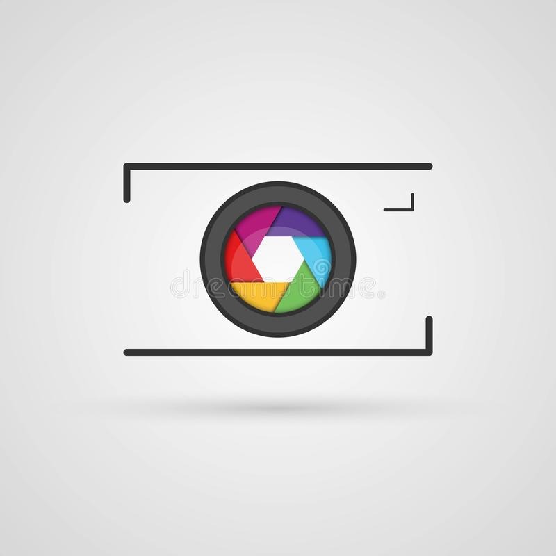 Vector photo camera icon. stock illustration