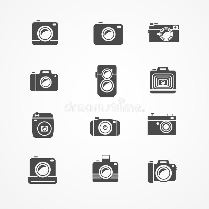Vector photo camera retro and new icon set vector illustration