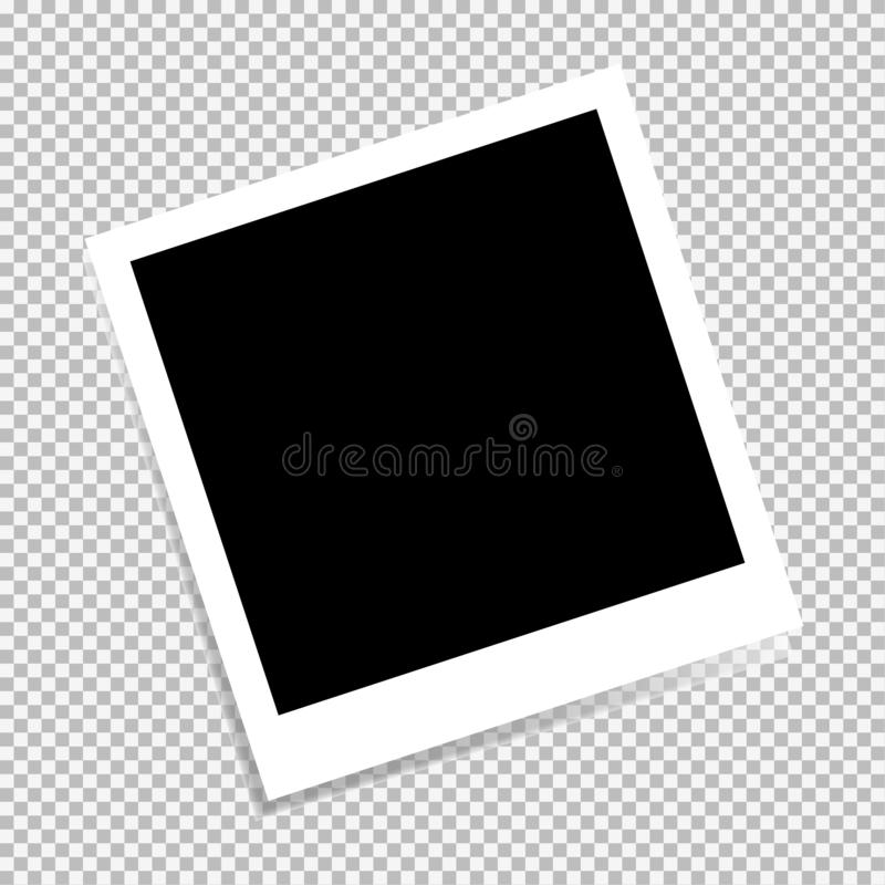 Vector photo frame isolated on transparent background. Photo frame design layout. Vector illustration royalty free stock photo