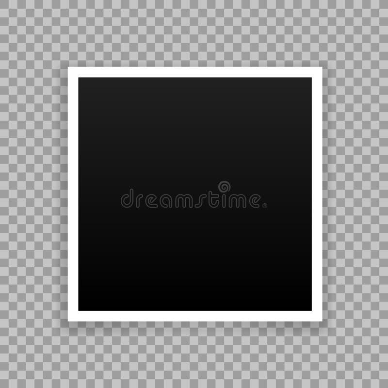 Vector Photo frame mockup design. White border on a transparent. Background vector illustration