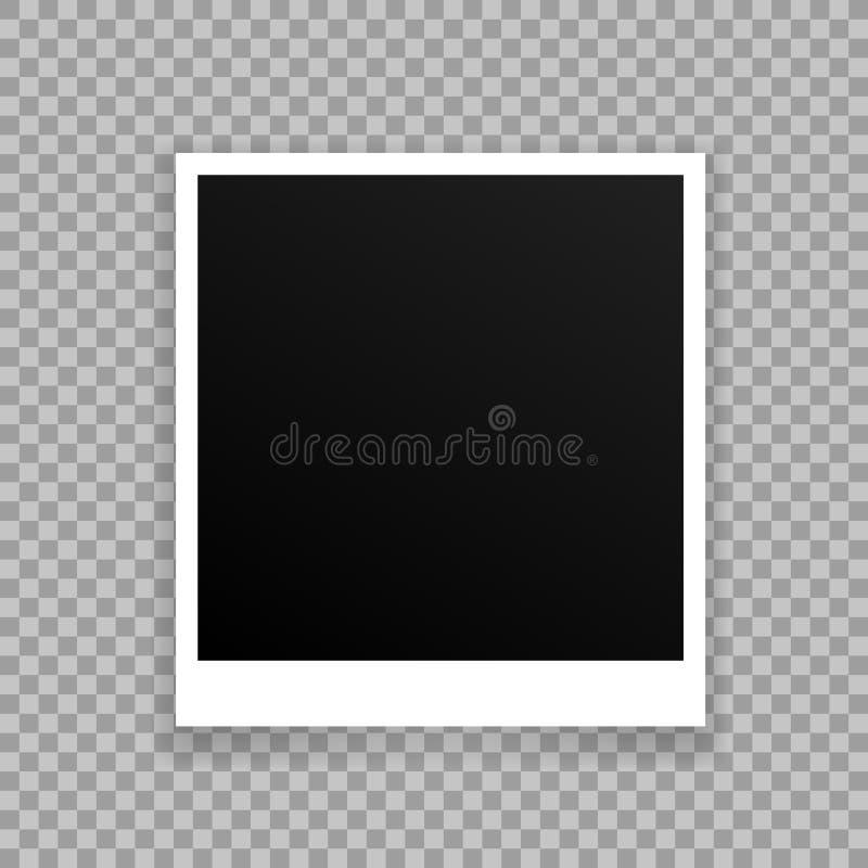 Vector Photo frame mockup design. White border on a transparent. Background stock illustration