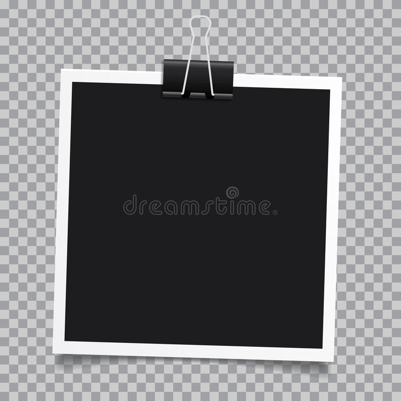 Vector photo frame.Set of realistic paper instant photograph.Template design. stock illustration