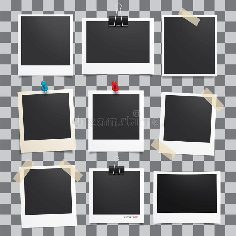 Vector photo frame.Set of realistic paper photograph. Template photo design stock illustration