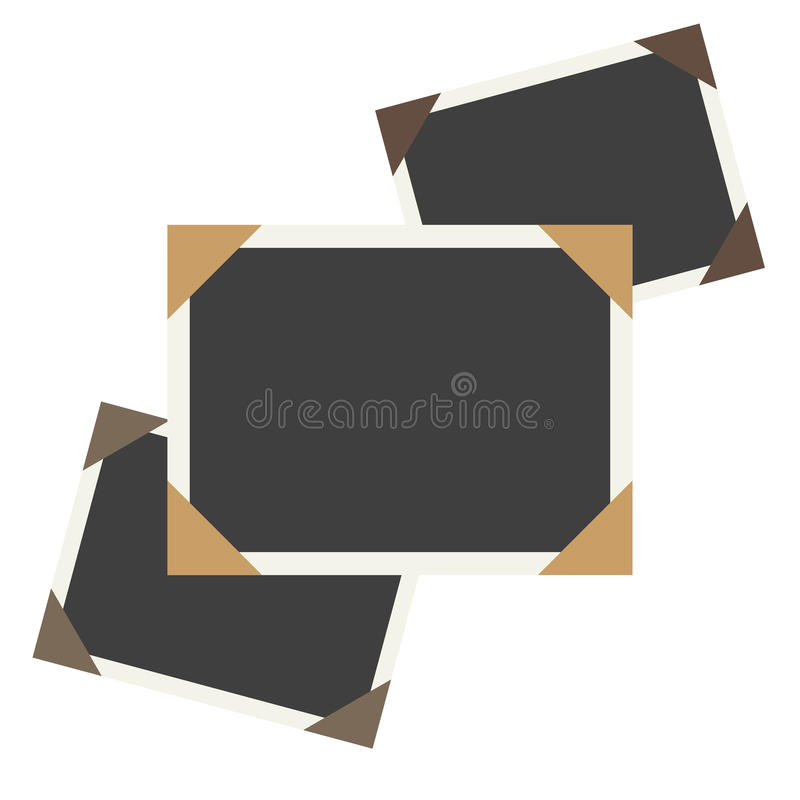 Vector photo framework on old, aged background paper. Page decoration stock illustration