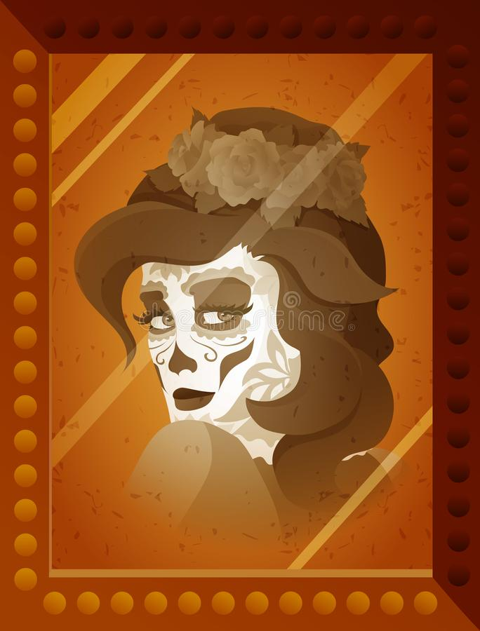 Vector photo of young woman with Catrina makeup vector illustration