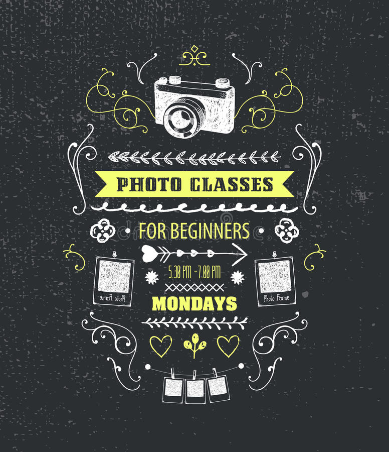 Vector Photography Classes Educational Studio Poster Stock Vector Illustration Of Courses Digital 73918540