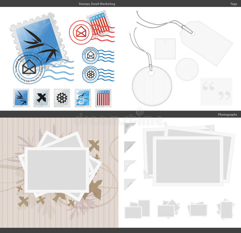 Vector Photos Stamps Tags royalty free stock images