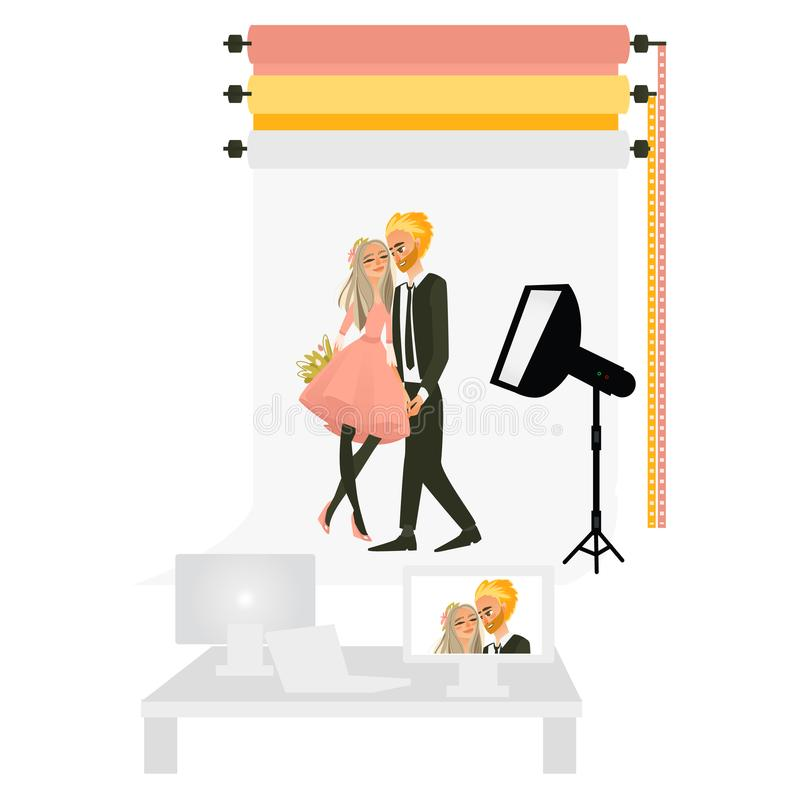 Vector photostudio with couple love making photo. Vector cartoon beautiful young couple in love holding hands, flowers bouquet hugging each other posing in stock illustration