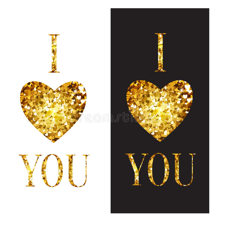 Vector phrase I love you. Illustration with Golden. Heart and letters. Perfect cards for Valentine's Day or advertising a jewelry store vector illustration