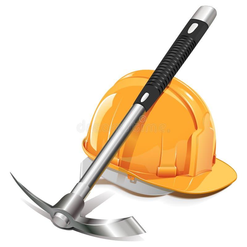 Vector Pickaxe with Helmet stock illustration