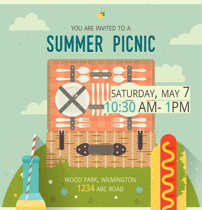 Vector picnic glade card food and pastime illustration flat download vector picnic glade card food and pastime illustration flat design of invitation stopboris Images