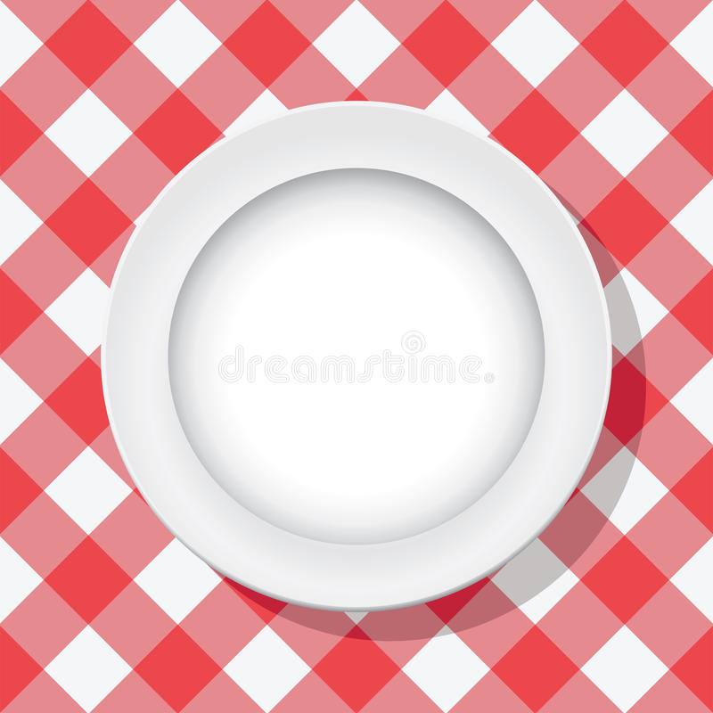 Download Vector Picnic Tablecloth And Empty Plate Stock Image - Image: 23990531