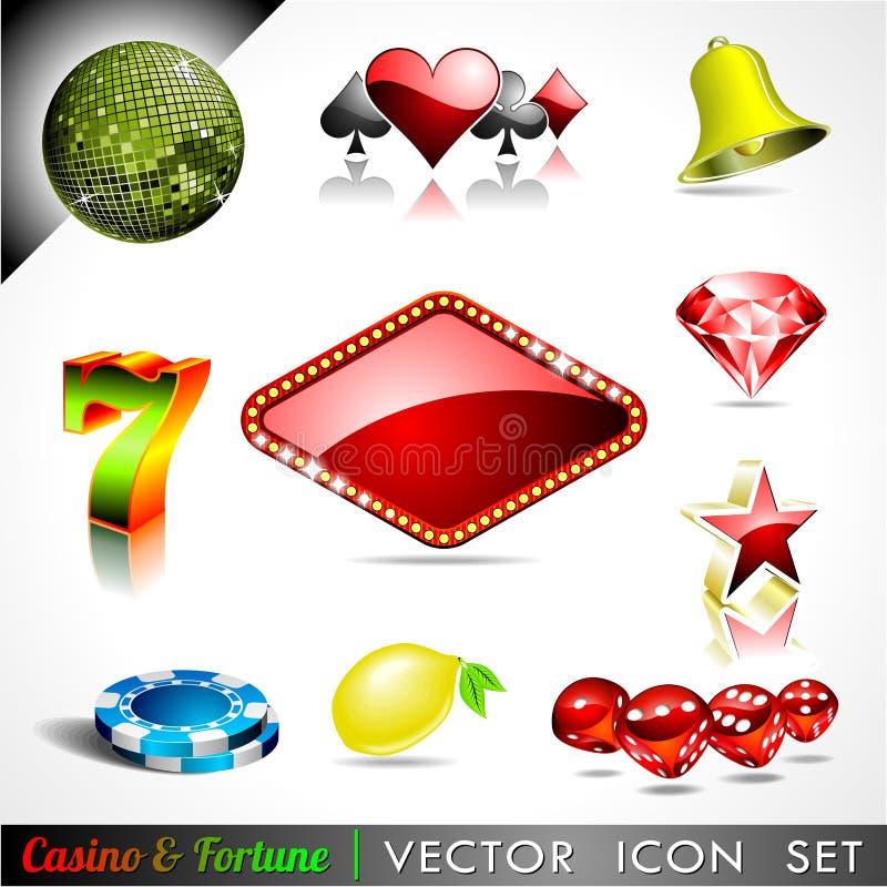 Vector pictograminzameling op een casinothema. vector illustratie