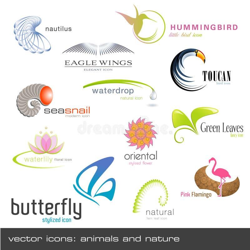 Vector pictogrammen: dieren en aard royalty-vrije illustratie