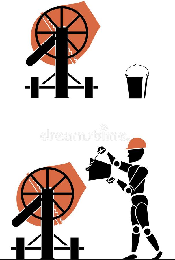 Vector picture construction equipment- concrete mixer, bucket, concrete mixer in action with man royalty free illustration
