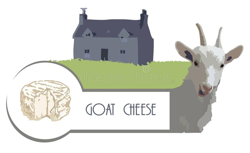 Vector picture goat on the background of a house with a lawn and cheese. Vector image goat on the background of an old French house with a lawn and goat cheese vector illustration