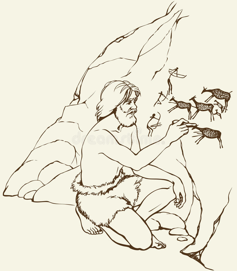 Vector picture. Primitive man draws on stone wall of cave stock illustration