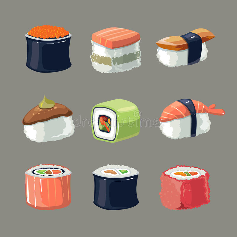 Vector picture set of Sushi rolls food stock illustration