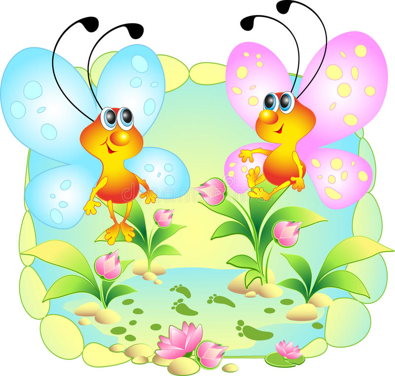 Vector picture with two merry butterflies stock image