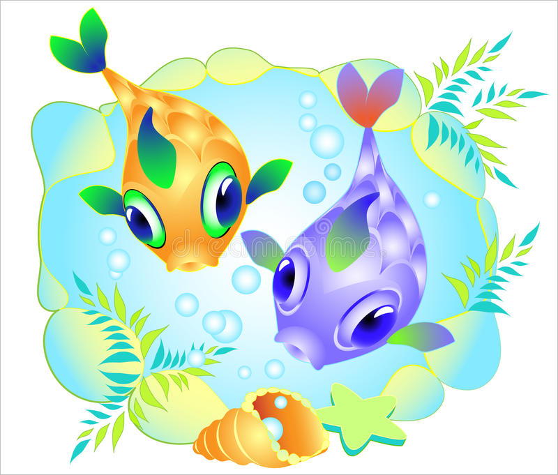 Vector picture with two motley fish royalty free stock photography