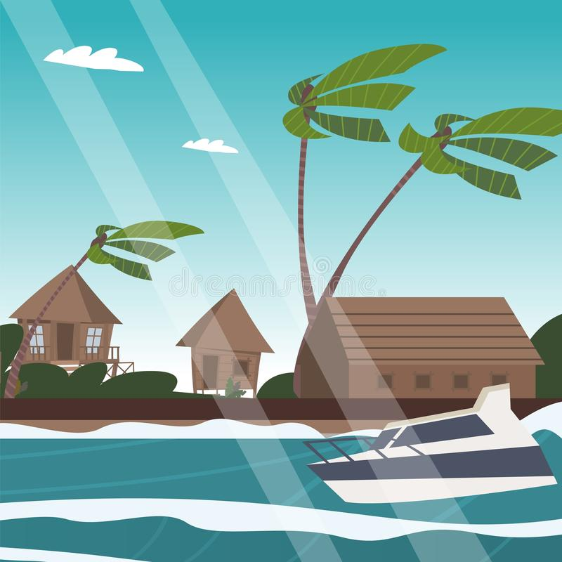 Vector picture a village on the shore of a lagoon vector illustration